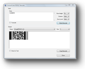 ConnectCode PDF417 Barcode Fonts Screenshot 1