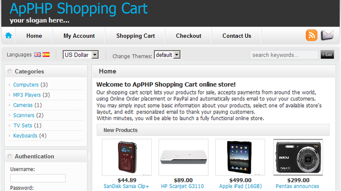 ApPHP Shopping Cart ecommerce software Screenshot