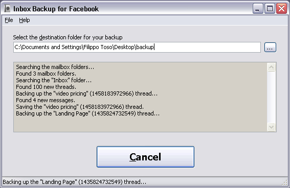 Inbox Backup for Facebook Screenshot 1