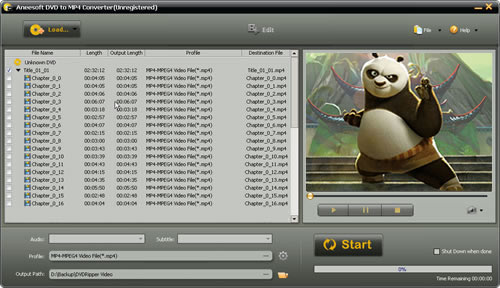 Aneesoft DVD to MP4 Converter Screenshot 1