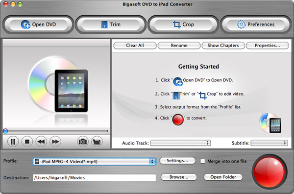 Bigasoft DVD to iPad Converter for Mac Screenshot 1