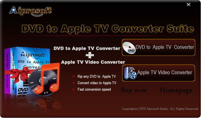 Aiprosoft DVD to AppleTV Converter Suite Screenshot