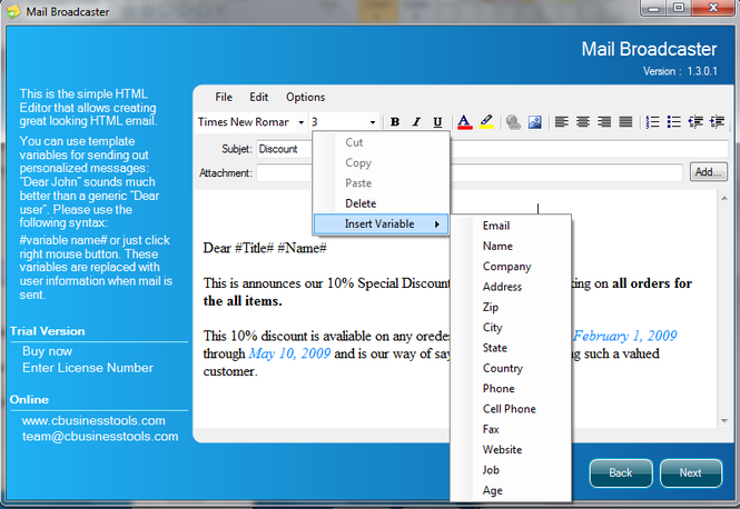 Mail Broadcaster Screenshot 1