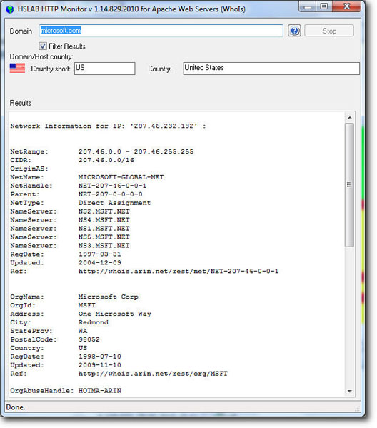 HSLAB Free Whois Screenshot