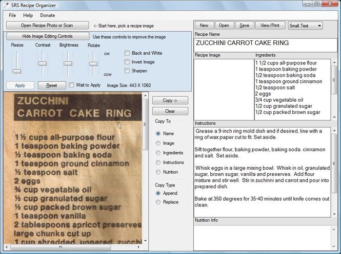 SRS Recipe Organizer Screenshot 1