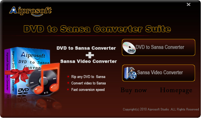 Aiprosoft DVD to Sansa Converter Suite Screenshot