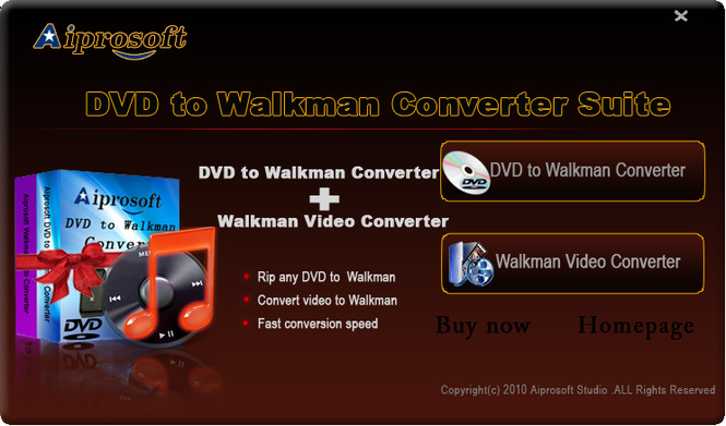 Aiprosoft DVD to Walkman Converter Suite Screenshot