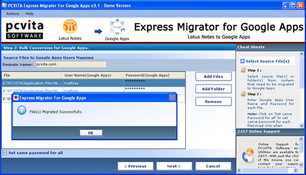 PCVITA Express Migrator for Google Apps Screenshot