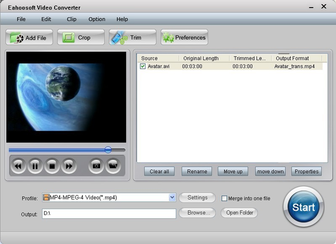 Eahoosoft Video Converter Screenshot