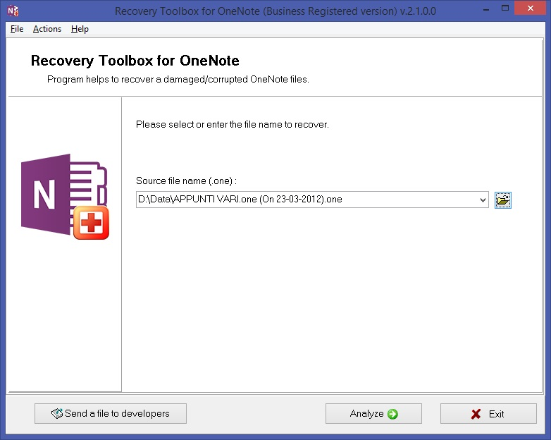 Recovery Toolbox for OneNote Screenshot 3
