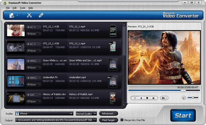 Daniusoft Video Converter Screenshot 1