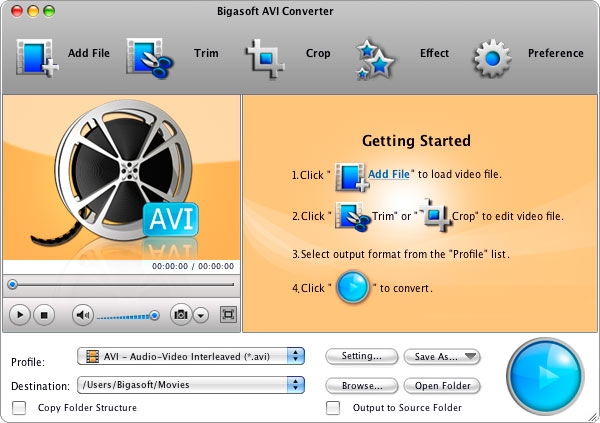 Bigasoft AVI Converter for Mac Screenshot 1