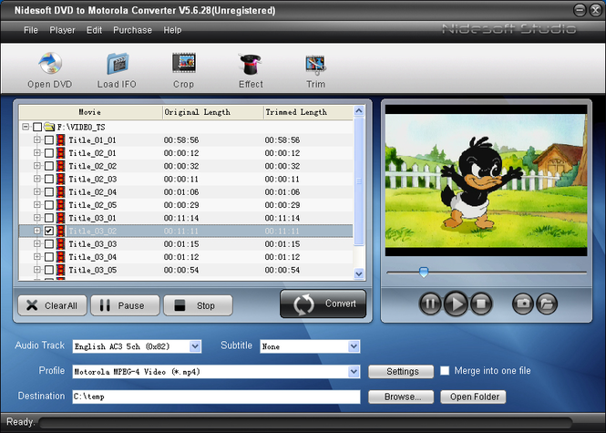 Nidesoft DVD to Motorola Converter Screenshot