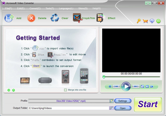 Acrowsoft Video Converter Screenshot