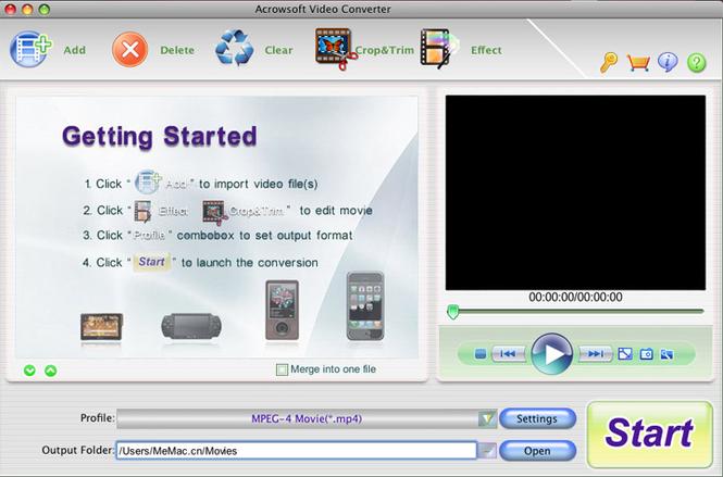 Acrowsoft Video Converter for Mac Screenshot