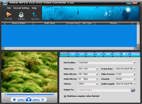 ABest MPEG VCD DVD Video Converter Screenshot 1