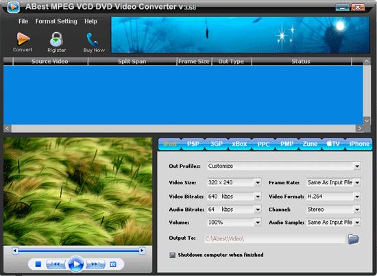 ABest MPEG VCD DVD Video Converter Screenshot