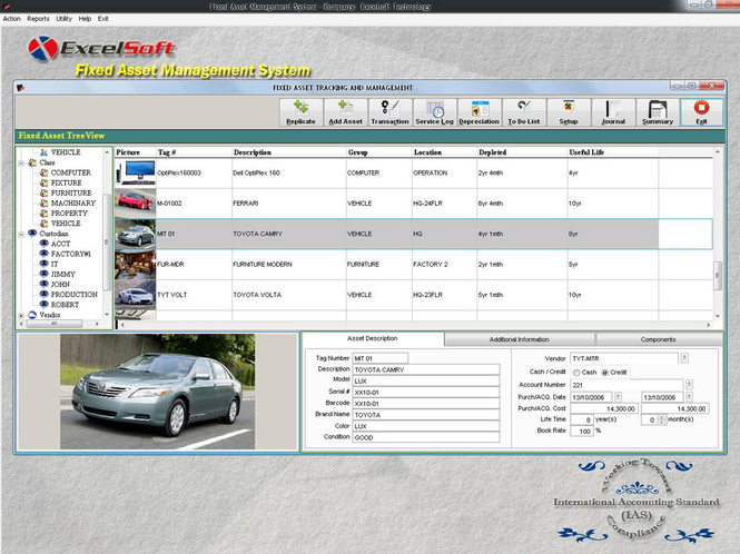 Fixed Asset Management Screenshot