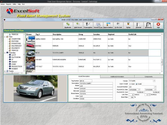 Fixed Asset Management Screenshot 1