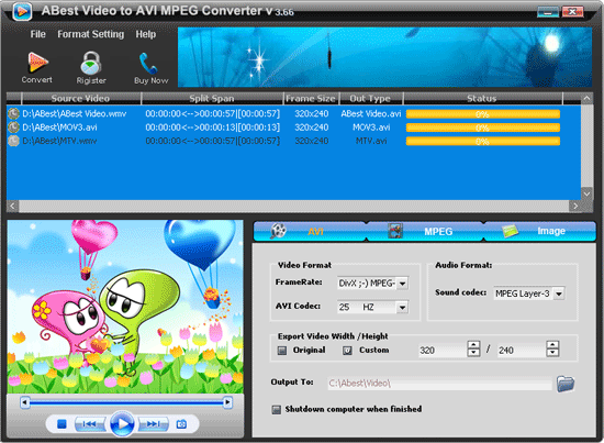 ABest Video to AVI MPEG Converter Screenshot