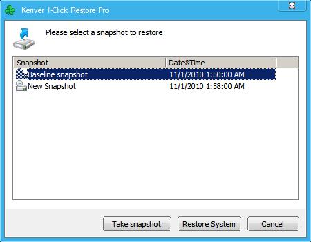 Keriver 1-Click Restore Pro Screenshot