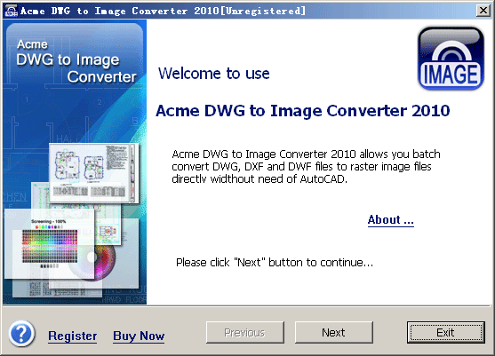 Acme DWG to IMAGE Converter 2010 Screenshot 1