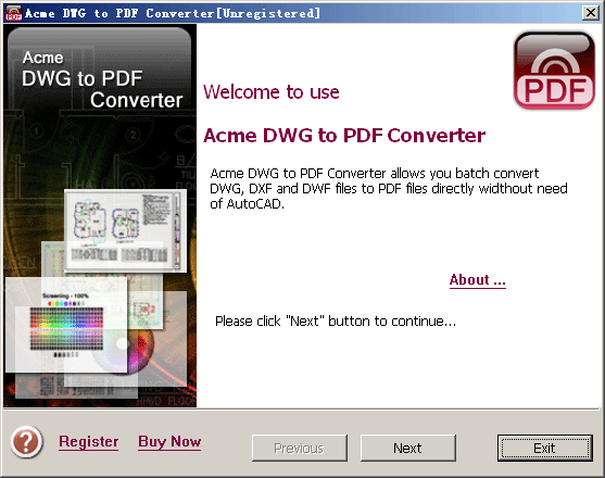 Acme DWG to PDF Converter 2010 Screenshot