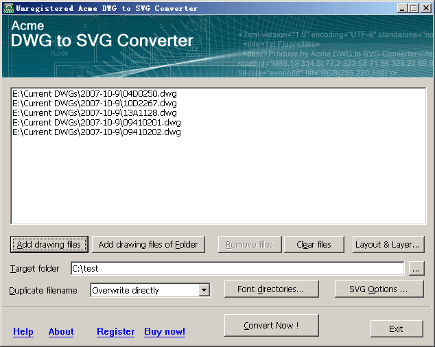 Acme DWG to SVG Converter 2010 Screenshot