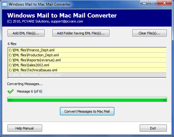 Export Windows Mail to Mac Mail Screenshot