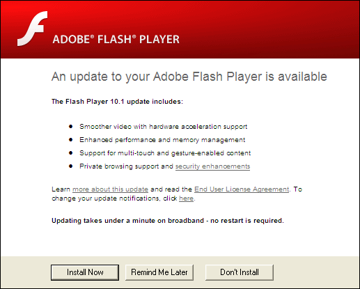 Adobe Flash Player (Non-IE) Screenshot