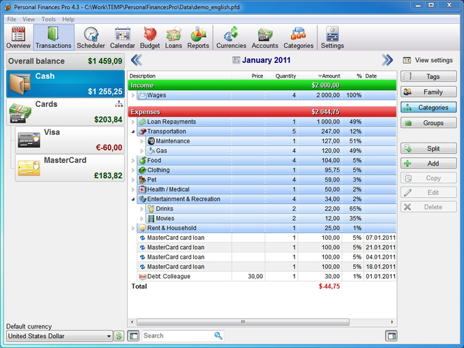 Personal Finances Screenshot 1