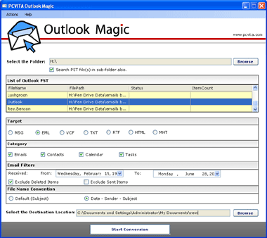 PCVITA Outlook Magic Screenshot