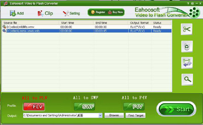 Eahoosoft Video to Flash Converter Screenshot 1