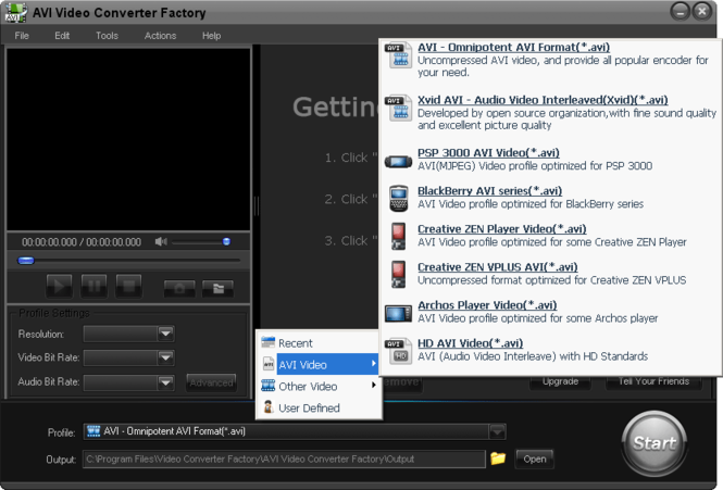 Free AVI Video Converter Factory Screenshot