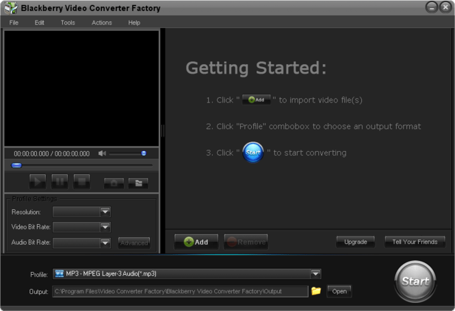 Free BlackBerry Video Converter Factory Screenshot 1