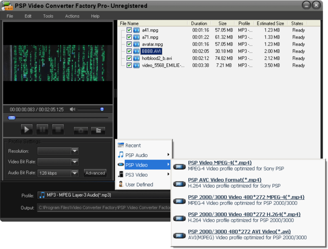 PSP Video Converter Factory Pro Screenshot