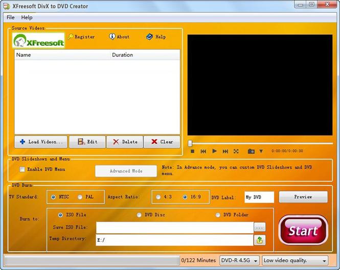 XFreesoft DivX to DVD Creator Screenshot