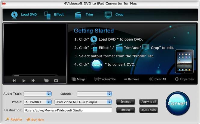 4Videosoft DVD to iPad Converter for Mac Screenshot