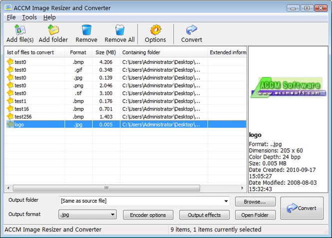 ACCM Image Resizer and Converter Screenshot