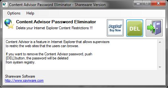 Content Advisor Password Eliminator Screenshot 1