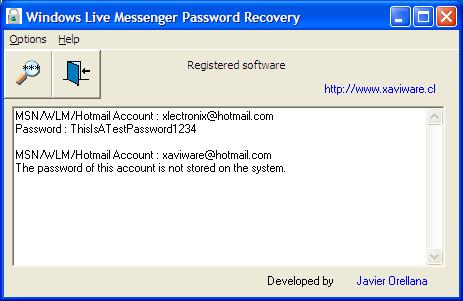 Windows Live Mail Password Recovery Screenshot