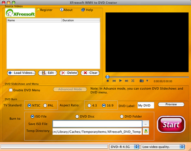 XFreesoft WMV to DVD Creator for Mac Screenshot