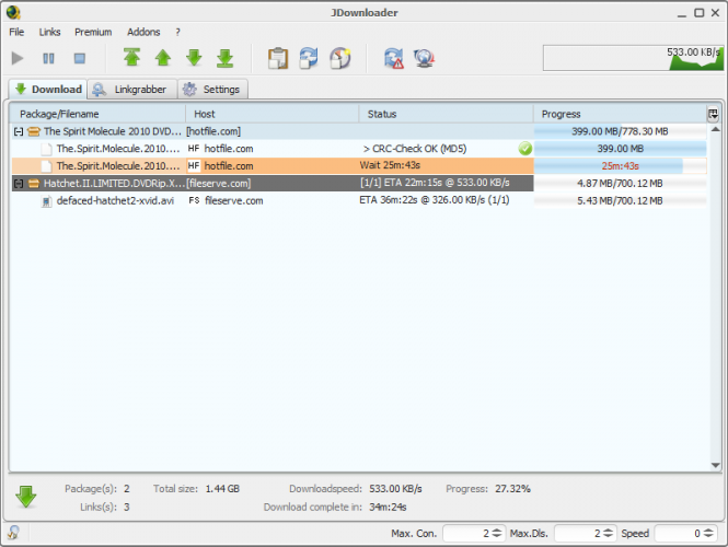 jDownloader Screenshot