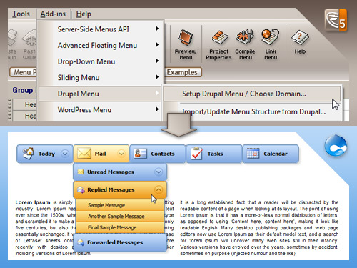 Likno Drupal Menu Module / Addin Screenshot