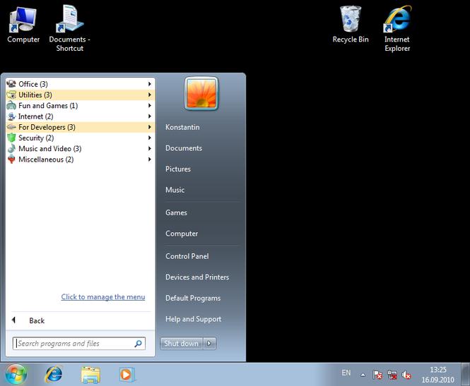 Handy Start Menu Screenshot