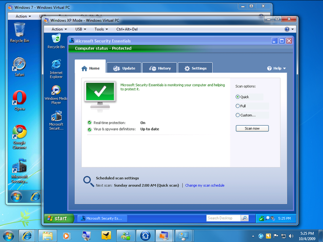 Microsoft Security Essentials Screenshot