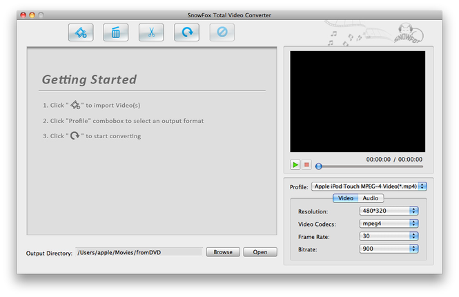 SnowFox Total Video Converter for Mac Screenshot 1