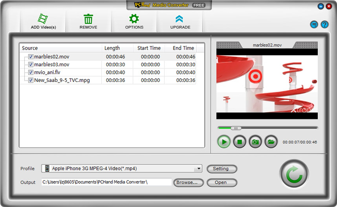 PCHand Media Converter Free Screenshot 1