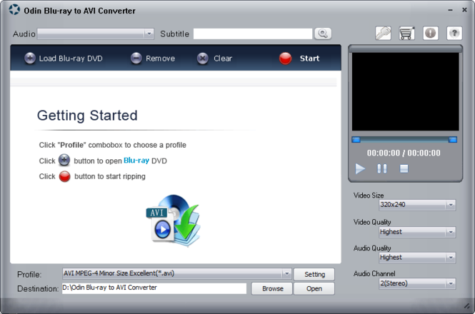 Odin Blu Ray to AVI Converter Screenshot