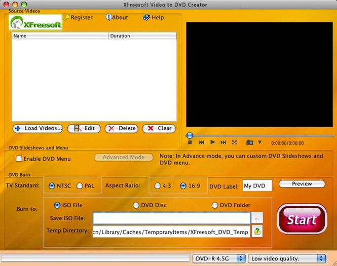 XFreesoft Video to DVD Creator for Mac Screenshot